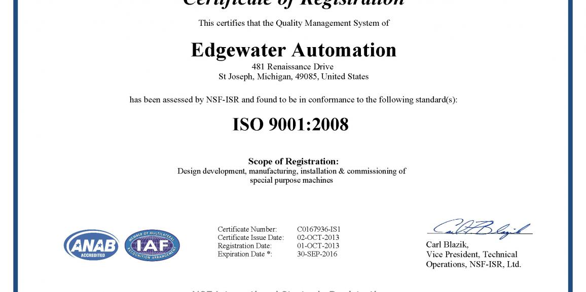 Edgewater Automation Earns ISO 9001:2008 Certification
