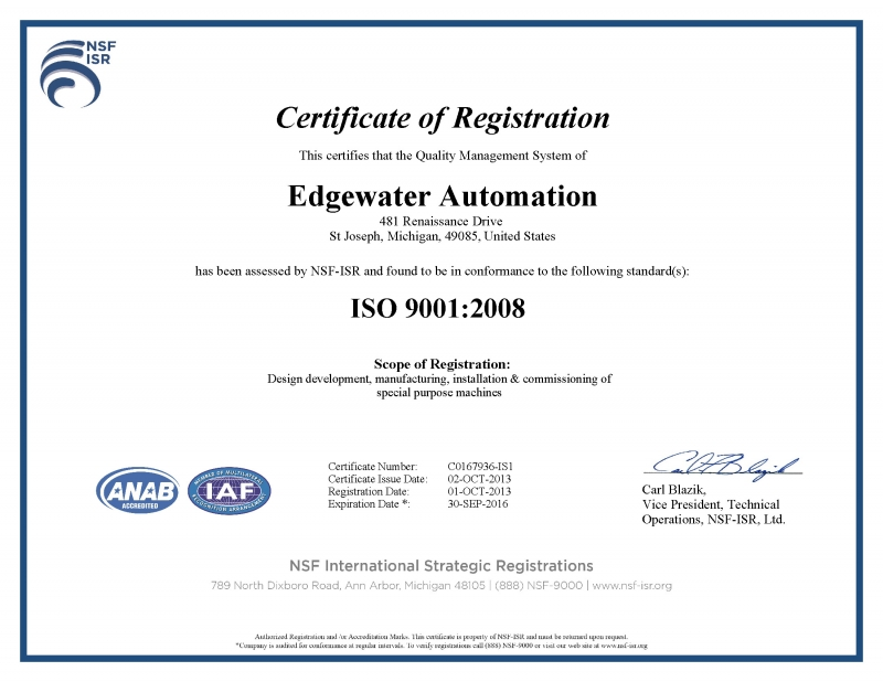 Edgewater Automation Earns ISO 9001:2008 Certification - Edgewater ...